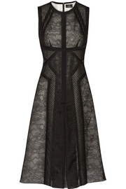J Mendel Paneled Chantilly lace and organza dress