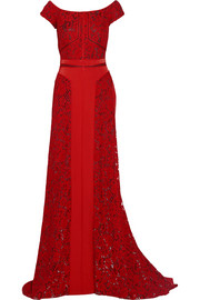 J Mendel Paneled lace and crepe gown