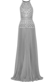 J Mendel Embellished pleated silk-chiffon gown