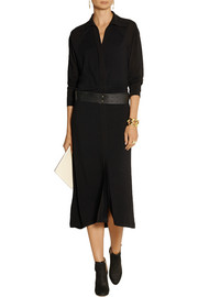 Donna Karan Crepe-trimmed stretch-jersey midi dress