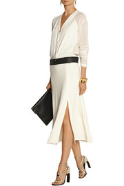 Donna Karan Georgette-trimmed stretch-jersey midi dress