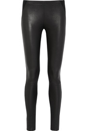 Donna Karan Leather and stretch-jersey leggings