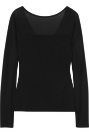 Donna Karan Paneled stretch-jersey top