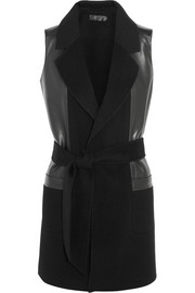 Donna Karan Leather-paneled cashmere gilet