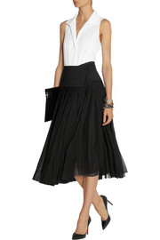 Donna Karan Pleated stretch-silk georgette wrap skirt