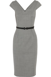 Michael Kors Belted houndstooth stretch-wool dress
