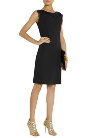 Michael Kors Leather-trimmed stretch-jersey dress