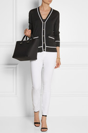 Michael Kors Contrast-trimmed merino wool and cotton-blend cardigan