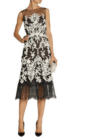 Oscar de la Renta Embellished embroidered tulle midi dress