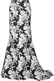 Oscar de la Renta Floral-print cotton and silk-blend maxi skirt