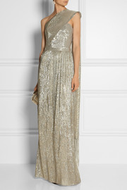 Oscar de la Renta One-shoulder metallic jacquard gown