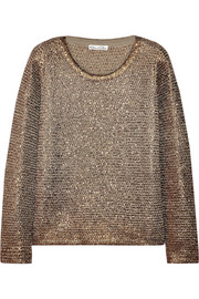 Oscar de la Renta Sequin-embellished metallic knitted sweater