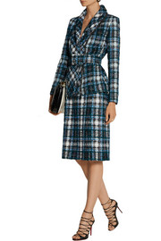 Oscar de la Renta Belted cotton-blend tweed jacket