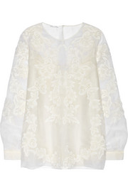 Oscar de la Renta Embroidered silk-organza top