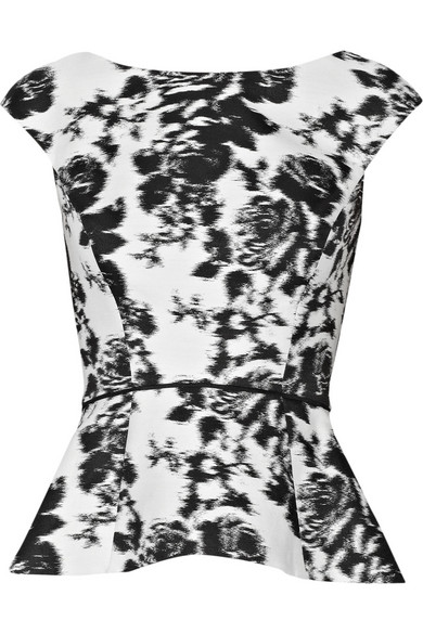 Floral Print Cotton And Silk Blend Top by Oscar De La Renta