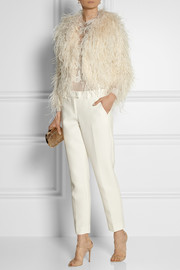 Oscar de la Renta Feather-embellished mohair-blend jacket