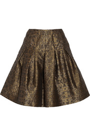Oscar de la Renta Pleated metallic jacquard skirt