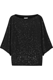 Oscar de la Renta Sequined cotton-blend sweater