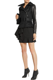 Oscar de la Renta Leather-paneled wool-blend biker jacket