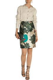 Oscar de la Renta Embroidered printed silk-blend mikado pencil skirt
