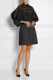 Oscar de la Renta Paneled lace and crocheted top