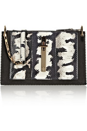 Tamara Mellon Attraction painted elaphe and suede shoulder bag