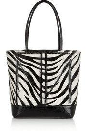 Tamara Mellon TM Love medium watersnake-trimmed calf hair tote