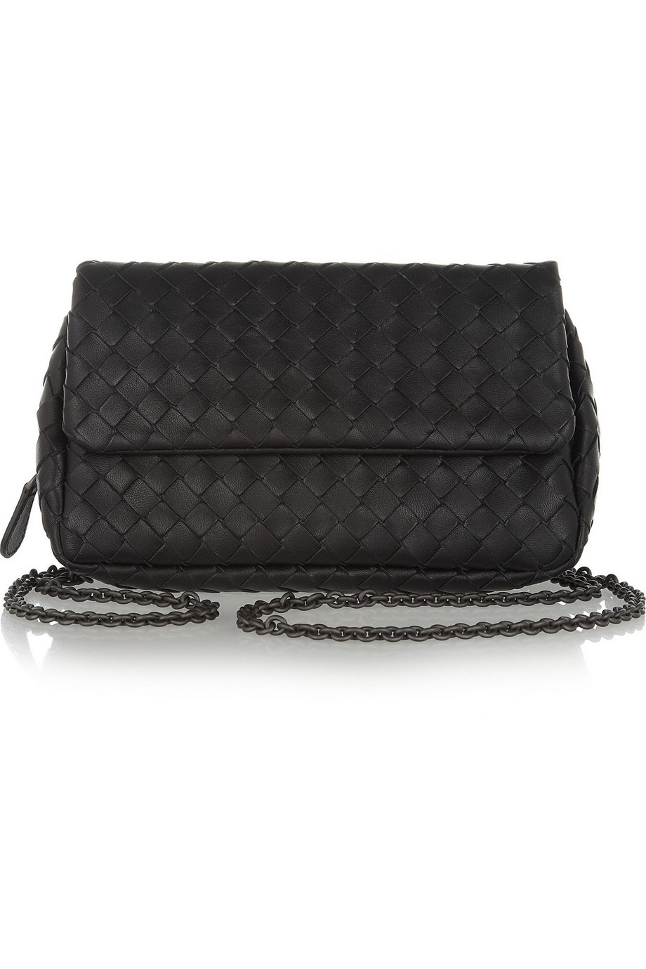 Bottega Veneta Messenger Mini Intrecciato Leather Shoulder Bag, Black, Women's, Size: One Size