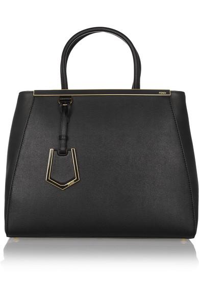 fendi female fendi 2jours medium texturedleather shopper black