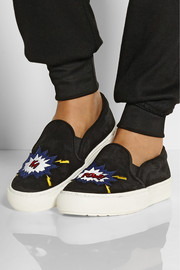 Markus Lupfer Ka-Pow embroidered suede slip-on sneakers