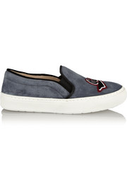 Markus Lupfer Oui, Non embroidered suede slip-on sneakers