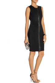 Reed Krakoff Leather-trimmed scuba-jersey dress