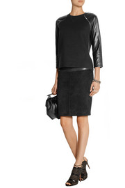 Reed Krakoff Leather-paneled cashmere, wool and silk-blend top