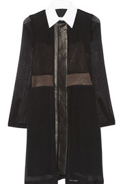 Reed Krakoff Leather-trimmed silk-chiffon shirt dress