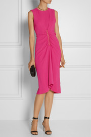Reed Krakoff Leather-trimmed stretch-crepe dress