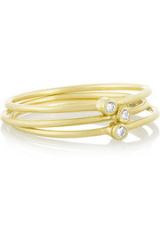 Set of three 18-karat gold diamond rings
