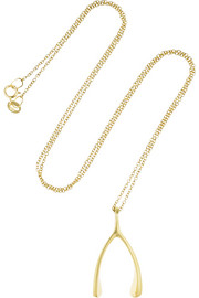 18-karat gold wishbone necklace
