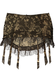 Agent Provocateur Leoni lace-trimmed satin-jacquard suspender belt