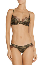 Agent Provocateur Leoni lace-trimmed satin-jacquard briefs