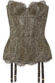 Shina lace and metallic crepe corset