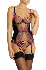 Agent Provocateur Zuri embroidered tulle and silk basque