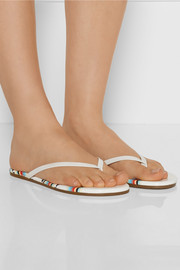 TKEES Lily printed patent-leather flip flops
