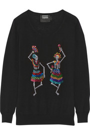 Markus Lupfer Dancing Skeletons sequined merino wool sweater