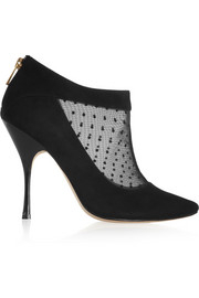 Lucy Choi London Padstow mesh-paneled suede ankle boots