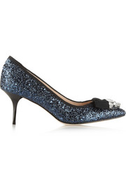 Lucy Choi London Marrakesh embellished glitter-finished pumps