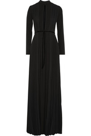 Issa Bianca pleated crepe and stretch-jersey gown