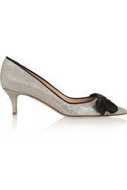J.Crew Glitter-finished leather pumps
