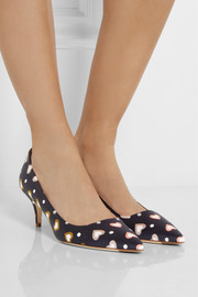 Printed satin pumps