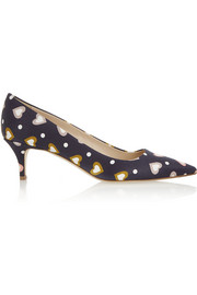 J.Crew Printed satin pumps
