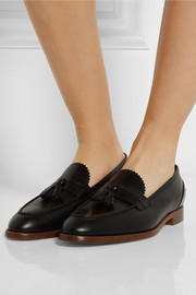 J.Crew Tasseled glossed-leather loafers